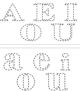 vogais tracejadas