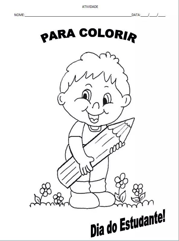 atividade colorir dia do estudante