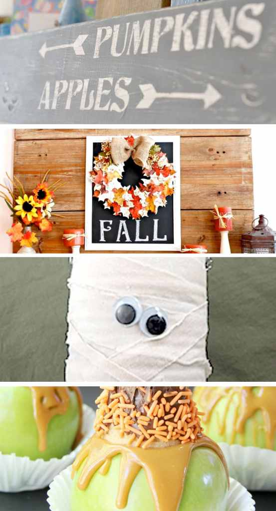 #Fall & #Halloween Pinworthy Projects Party #Features /// Fall Crafts, Halloween Recipes, Halloween Crafts
