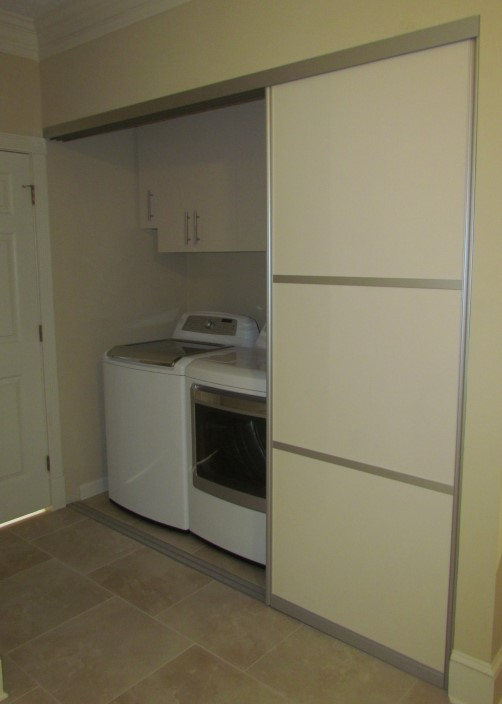 Laundry Room Stacked Cabinets