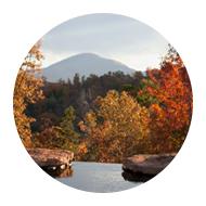 Autumn lake view with mountains