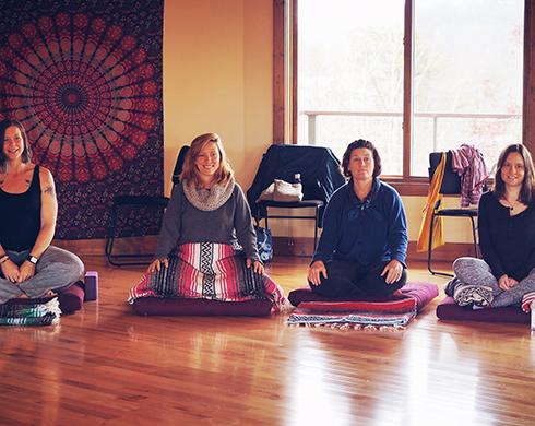 Women Contentedly Meditating