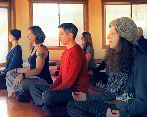 Students meditating in the opening the mind and heart class