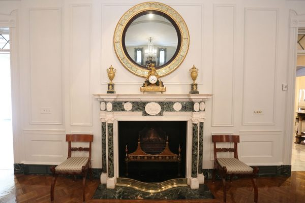 An ornate fireplace in the state dining room of the Governor's Mansion, in Atlanta.