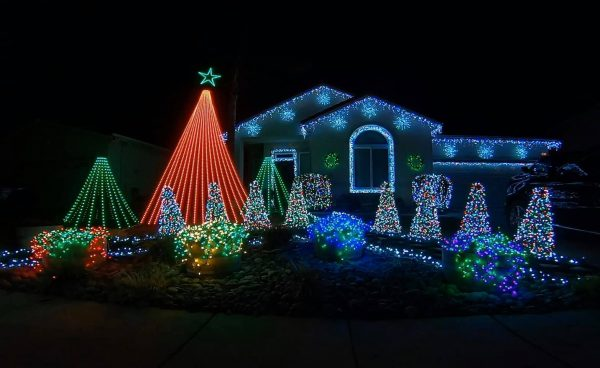 Elaborate holiday lights on a house at Christmas time