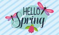 hello spring dragonflies flower striped background banner vector illustration
