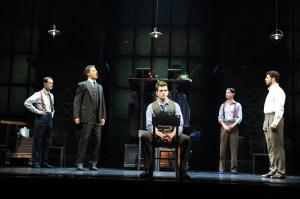 Will Taylor, Douglas Williams, Shayne Kennon, Chris Dwan, and Tony Yazbeck in Harmony – A New Musical. Photo by Greg Mooney