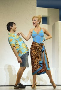 Ethan Le Phong and Alison Ewing in Mamma Mia!