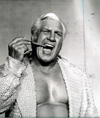 The vile, the vicious and villainous, Fred Blassie, filing his teeth for his next clash.