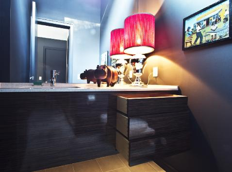 Vanity with drawers open.