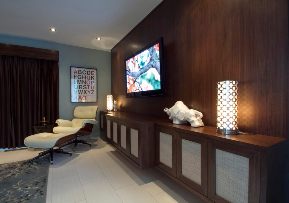 Living room with entertainment center.