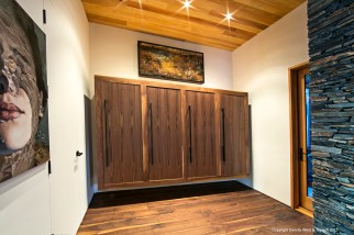 Floating lockers at the entryway of the house.