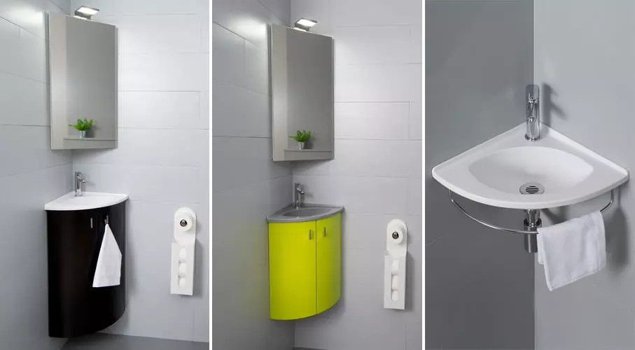 meuble lave mains angle toilette