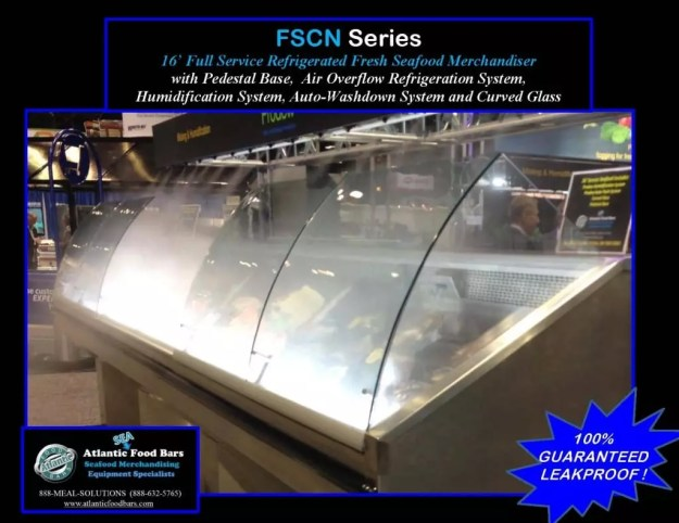 Atlantic Food Bars - 16' Fresh Seafood Merchandiser with Pedestal Base, Humidification System, Auto-Washdown System and Curved Glass - FSCN19234-AWD-CS-CSCB-CWP-CUSTOM-DPS4-HS-P-PB
