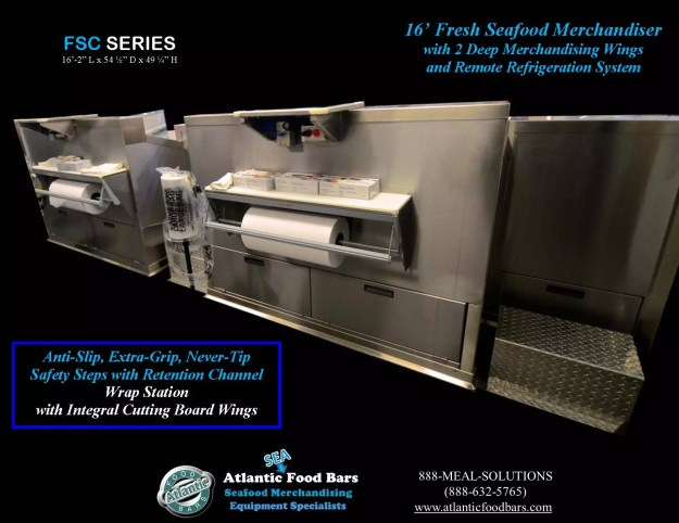 Atlantic Food Bars - Fresh Seafood Merchandiser with Diamond Plate Finish, Swing Out Glass, Deep Wings, and Misting System - FSC19554 4