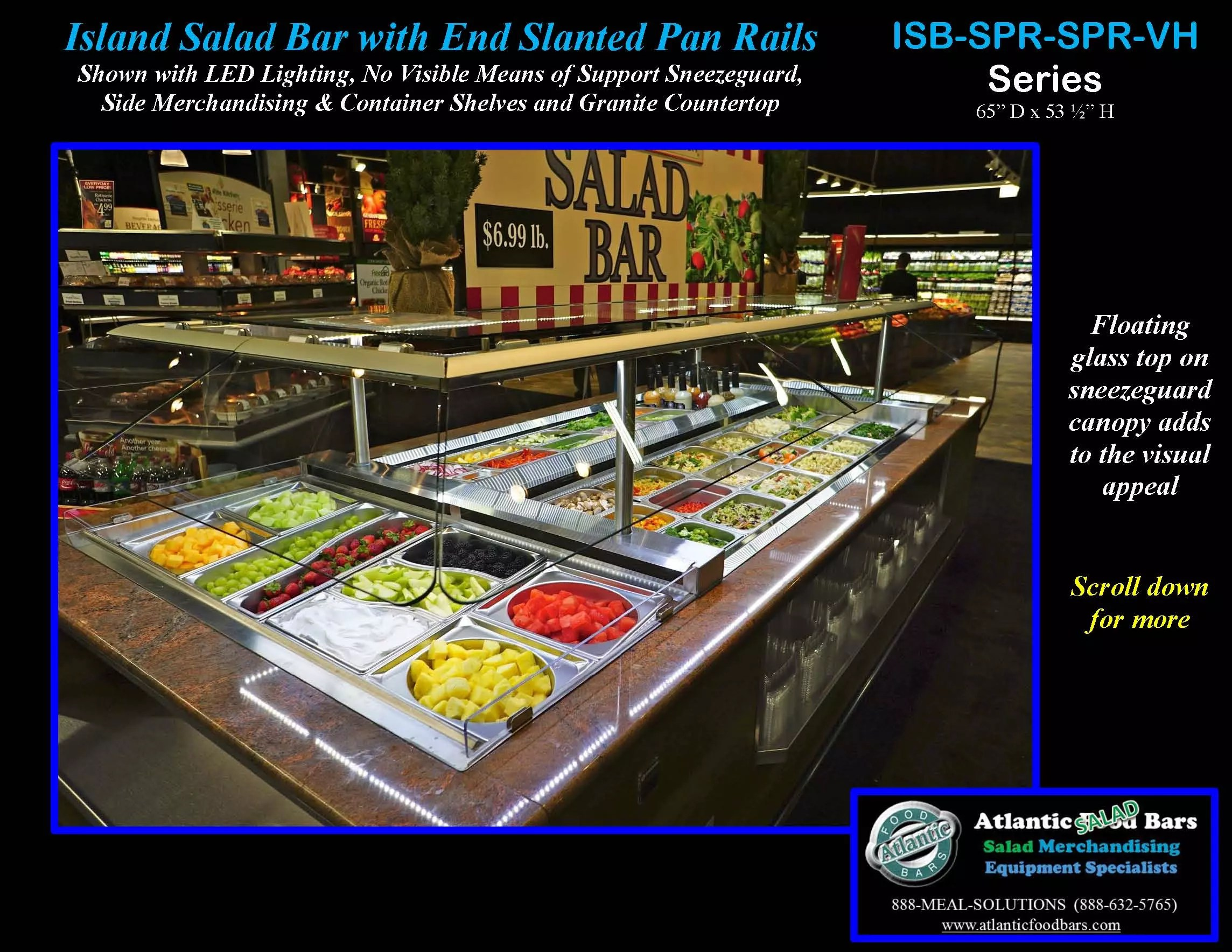 Atlantic food bars refrigerated island salad bar the for Food bar meaning