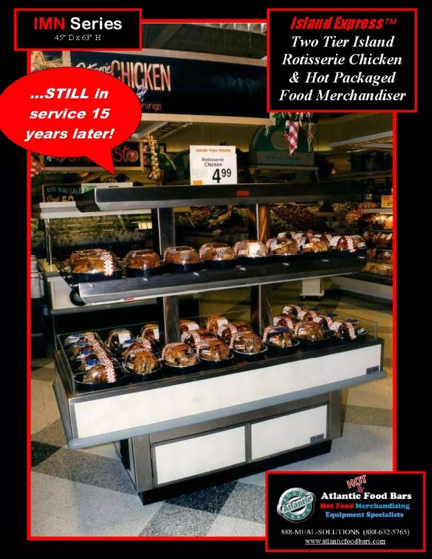 Atlantic Food Bars - The 15 Year Club - IMN6032 Island Express Hot Rotisserie Chicken Case - STILL IN SERVICE!