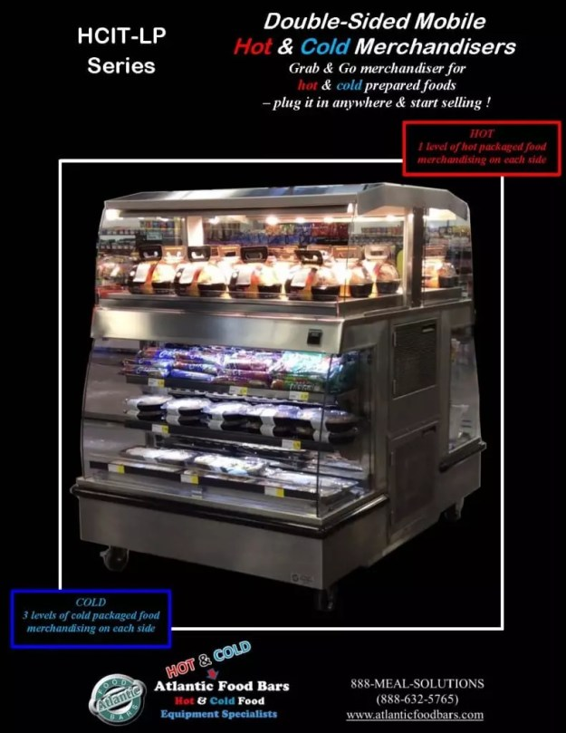 Atlantic Food Bars - Double-Sided Mobile Hot Over Cold Grab & Go Merchandisers - HCIT4862-LP