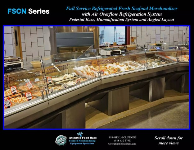 Atlantic Food Bars - Seafood Case Angled Lineup with Pedestals - FSCN192-P-HS-W and FSCN144-P-HS-W 2