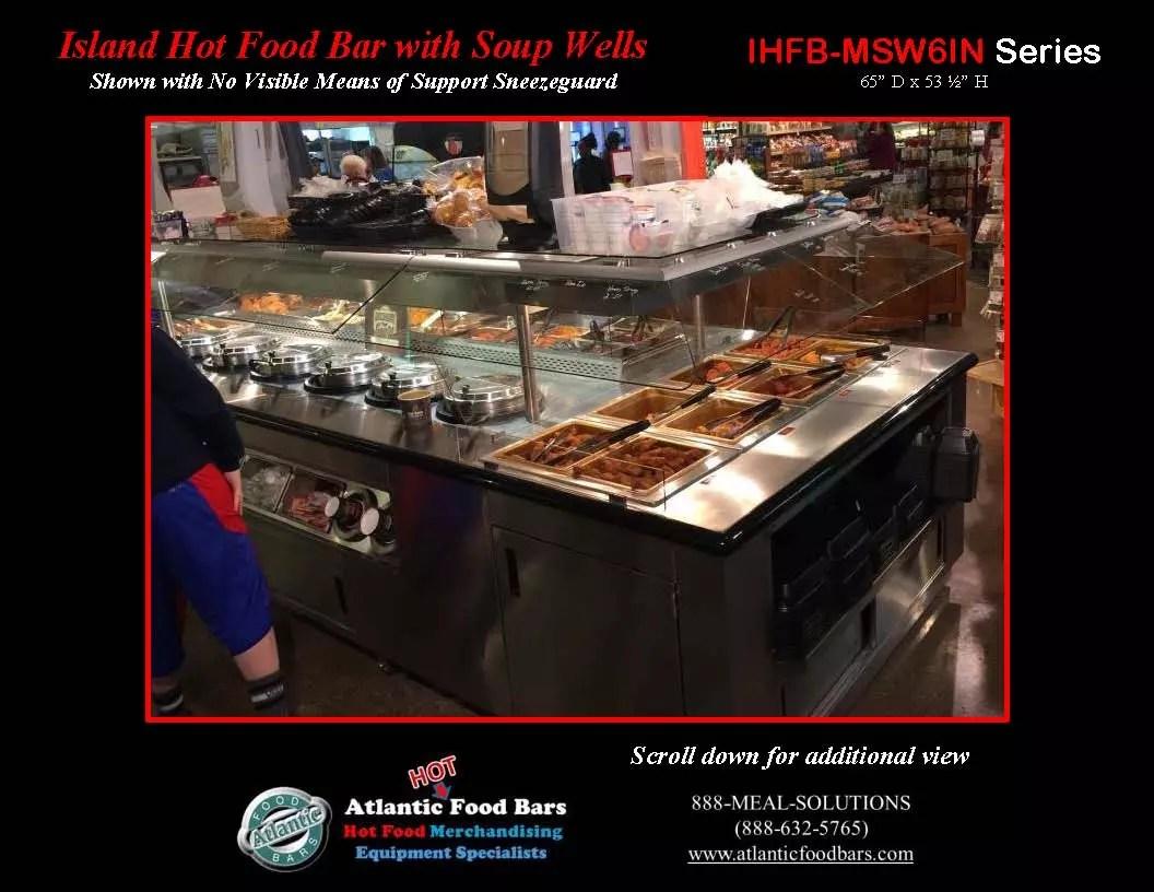 Atlantic food bars island hot food bar with soup wells for Hot food bar 3 divisions
