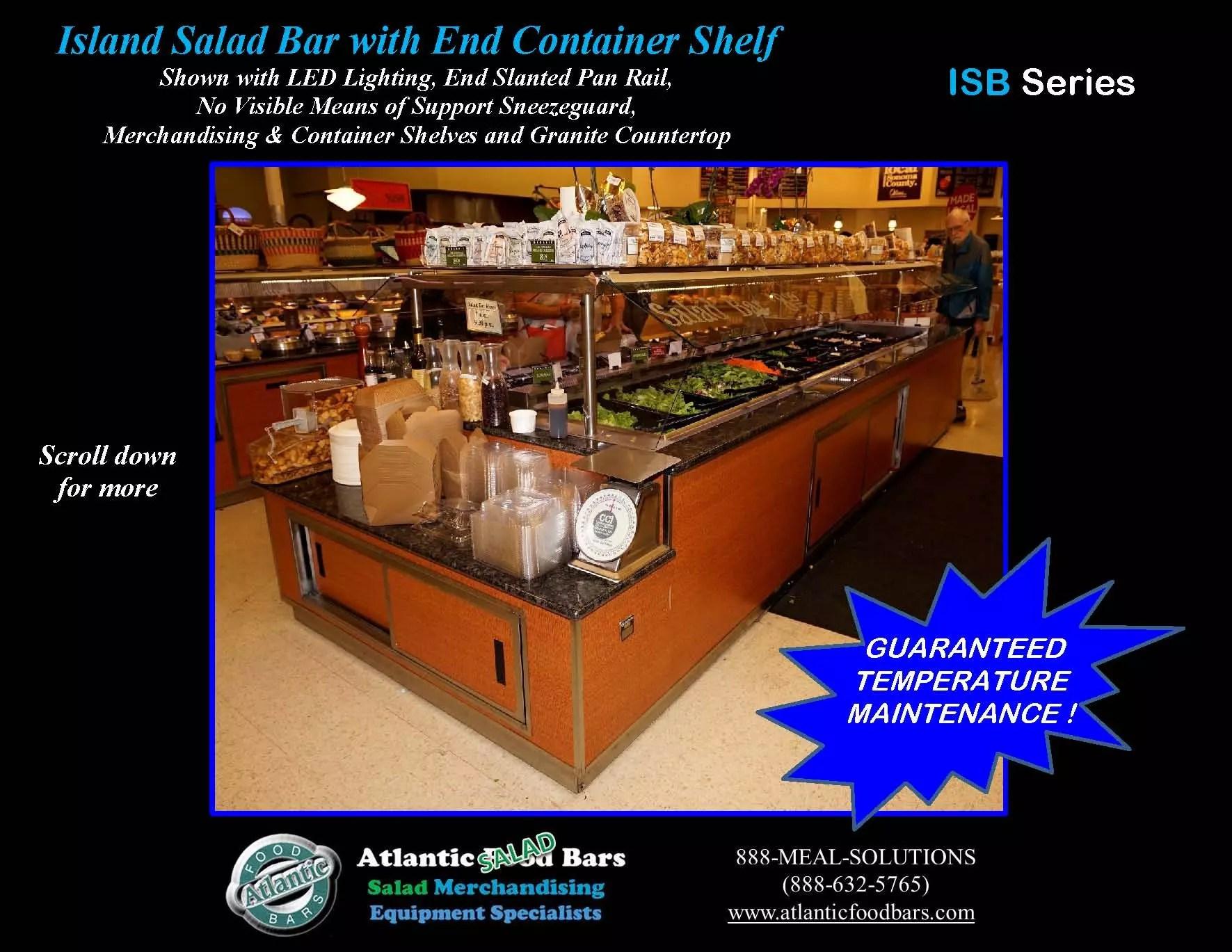 Atlantic food bars island salad bar with granite counter for Food bar 2015