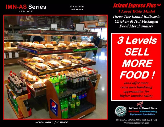 Atlantic Food Bars - Three Level Island Express PLUS Wide Hot Packaged Food Merchandiser - IMN7245-AS_Page_1