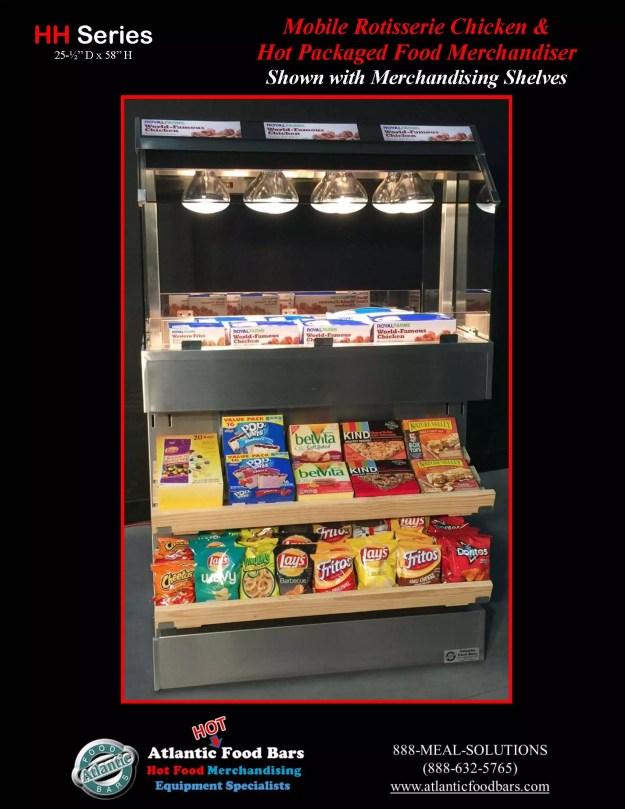 Atlantic Food Bars - Mobile Island Hot Packaged Food Merchandiser with Side Merchandising Shelves - HH3625-UO-SB1