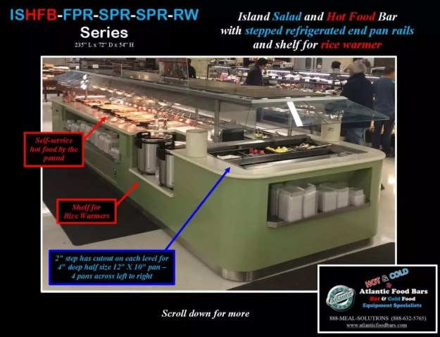 Atlantic Food Bars - 19' Island Salad and Hot Food Bar with Stepped Refrigerated End Pan Rails and Shelf for Rice Warmer - ISHFB-FPR-SPR-SPR-RW_Page_1