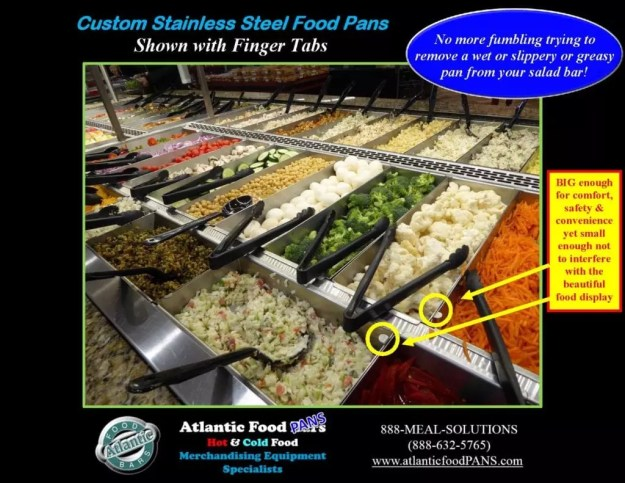 Atlantic Food Bars - Custom Stainless Steel Salad Bar Pans - Shown With Finger Tabs_Page_2