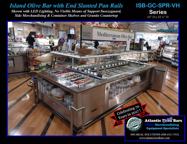 Atlantic Food Bars - Island Olive Bar with End Slanted Pan Rails - ISB-GC-SPR-VH