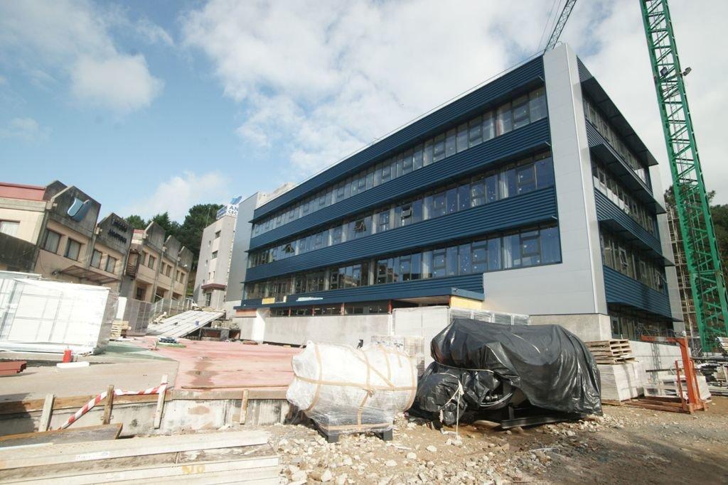Obras del nuevo edificio de investigación que Anfaco construye al lado de sus instalaciones.