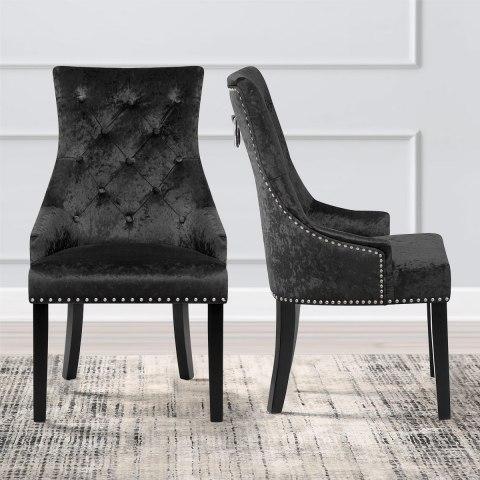 Ascot Dining Chair Black Velvet Atlantic Shopping