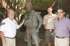 Anthony Blackman (left) has had a can-do attitude when helping the Boy Scouts of America with projects over a decade. He's shown with Tyler Perkinson, director of the BSA's Crosswinds district, and Roger Skirvin, field director for the council.