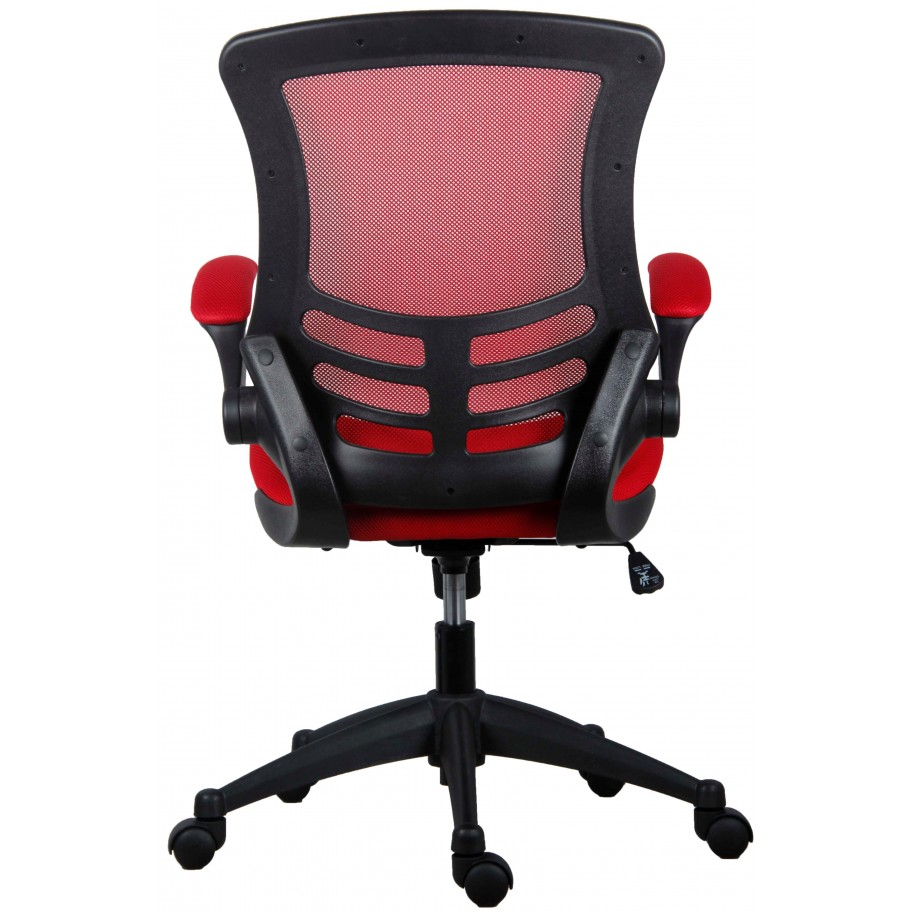 Marlos Red Mesh Operator Office Chair With Folding Arms