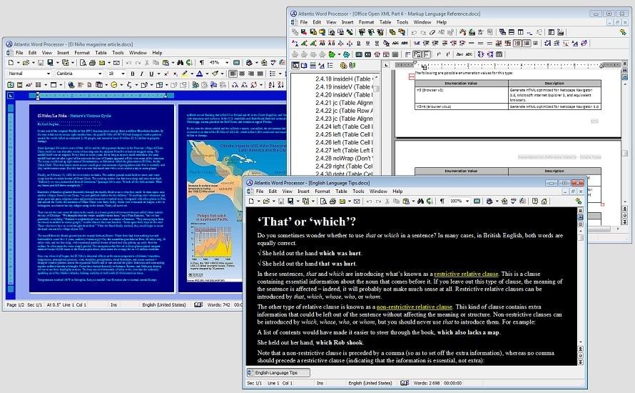 Recorrido rápido por las funciones del procesador de textos Atlantis
