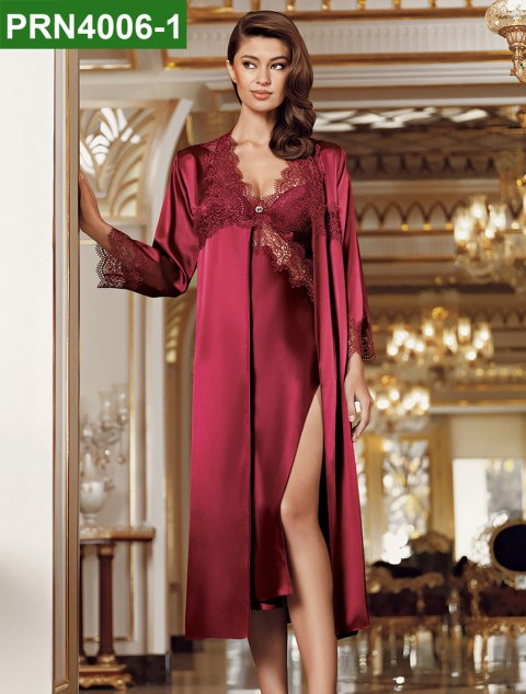 PRN4006-1 - 2 Pieces Satin Nightgown Set