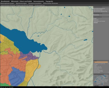 2D Basemap Switzerland: Relief, rivers and lakes