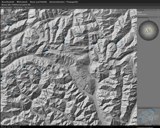 Illumination of the terrain model: Shading direction NW