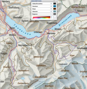 Map Labeling: Names placed correctly in cartographical terms (settlements, rivers and lakes, mountains, glaciers)