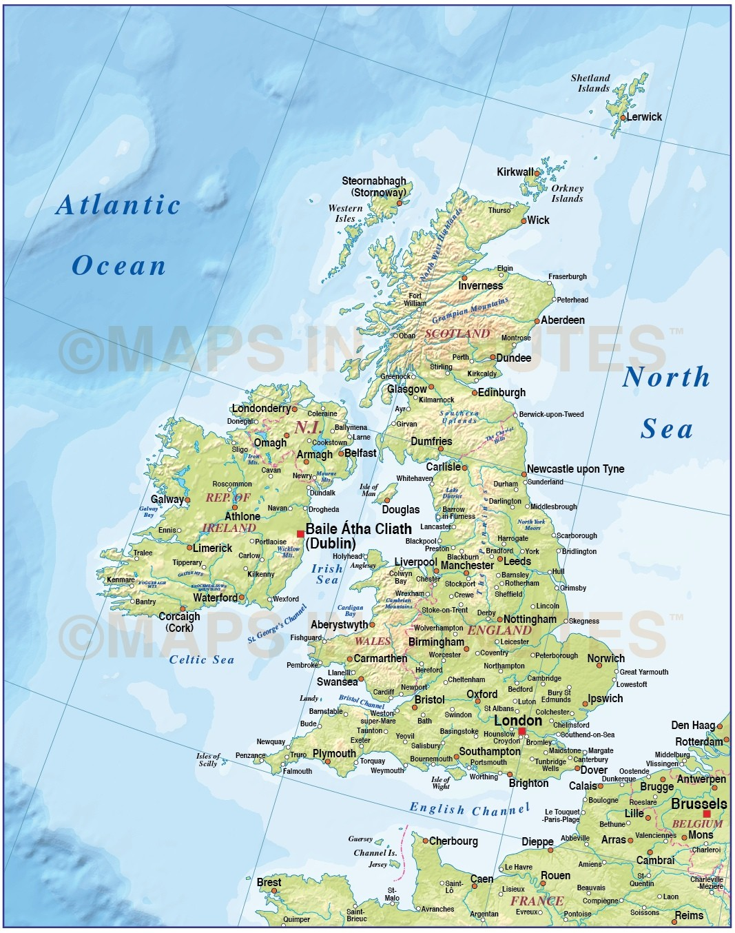 Digital Vector British Isles Uk Map Basic Country With