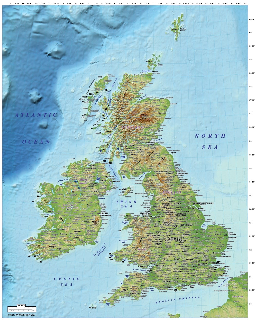 5m Scale British Isles Country Ezread Strong Relief Map
