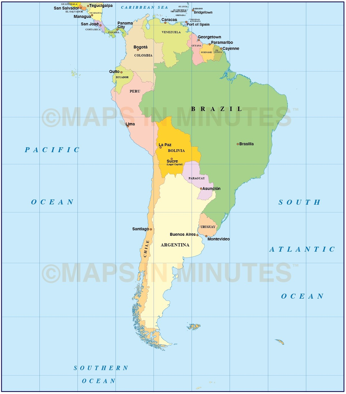 Digital Vector South American Countries Map In Illustrator