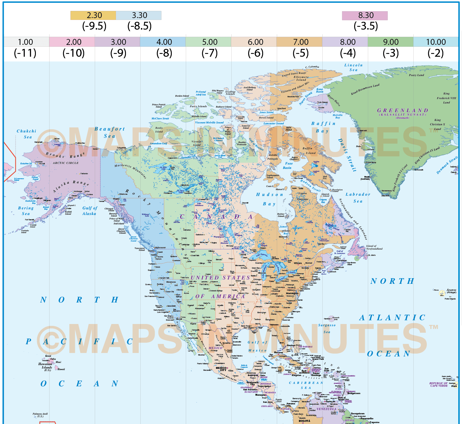North And South America Time Zones Map In Illustrator Ai