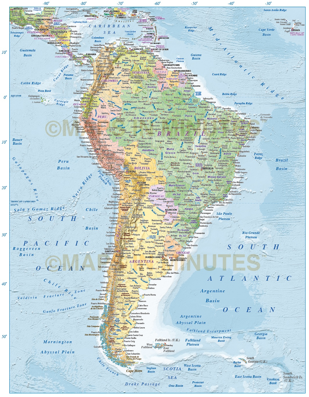 Digital Vector North And South America Political Map