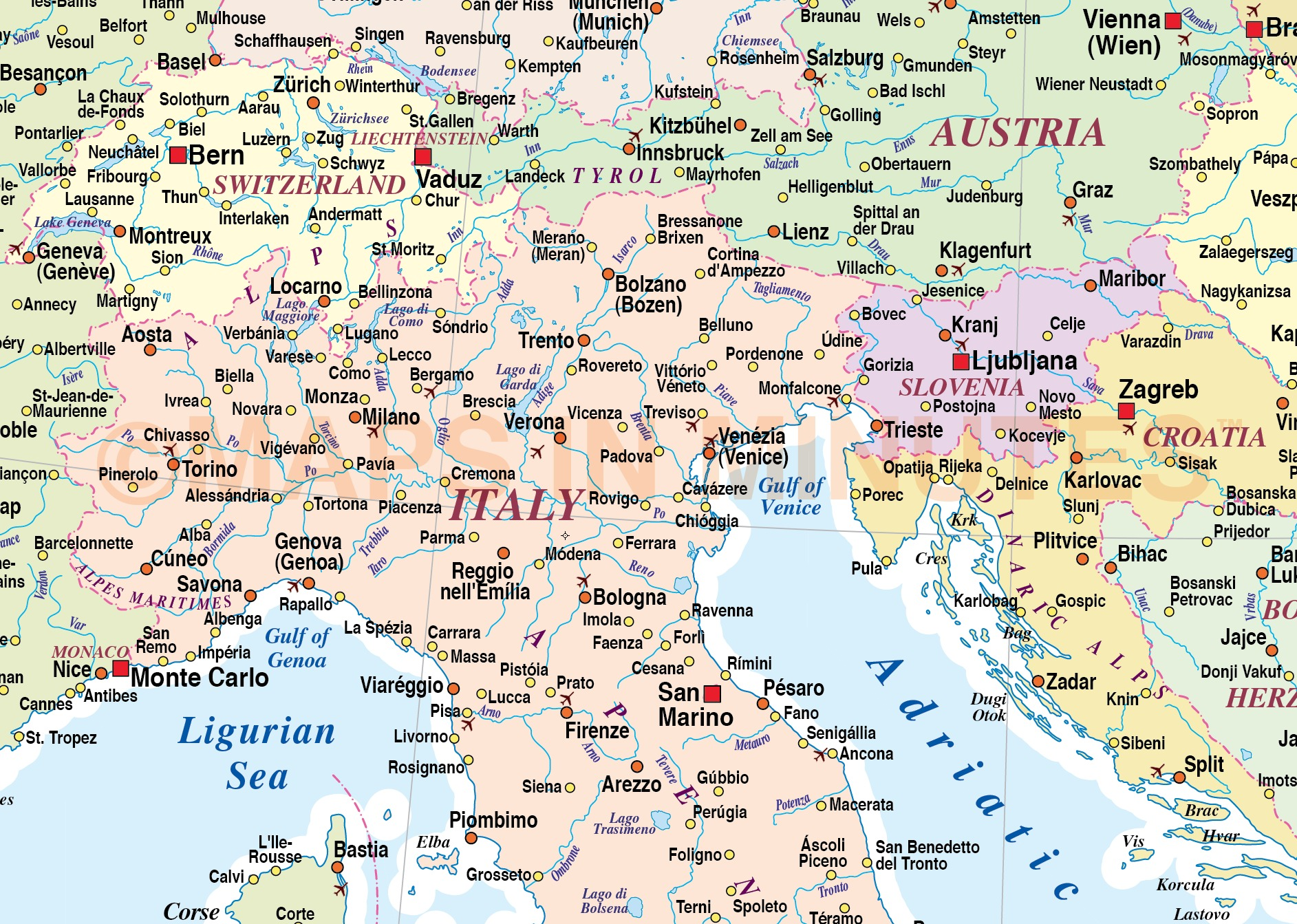 Digital Vector Southern Europe Map In Illustrator And