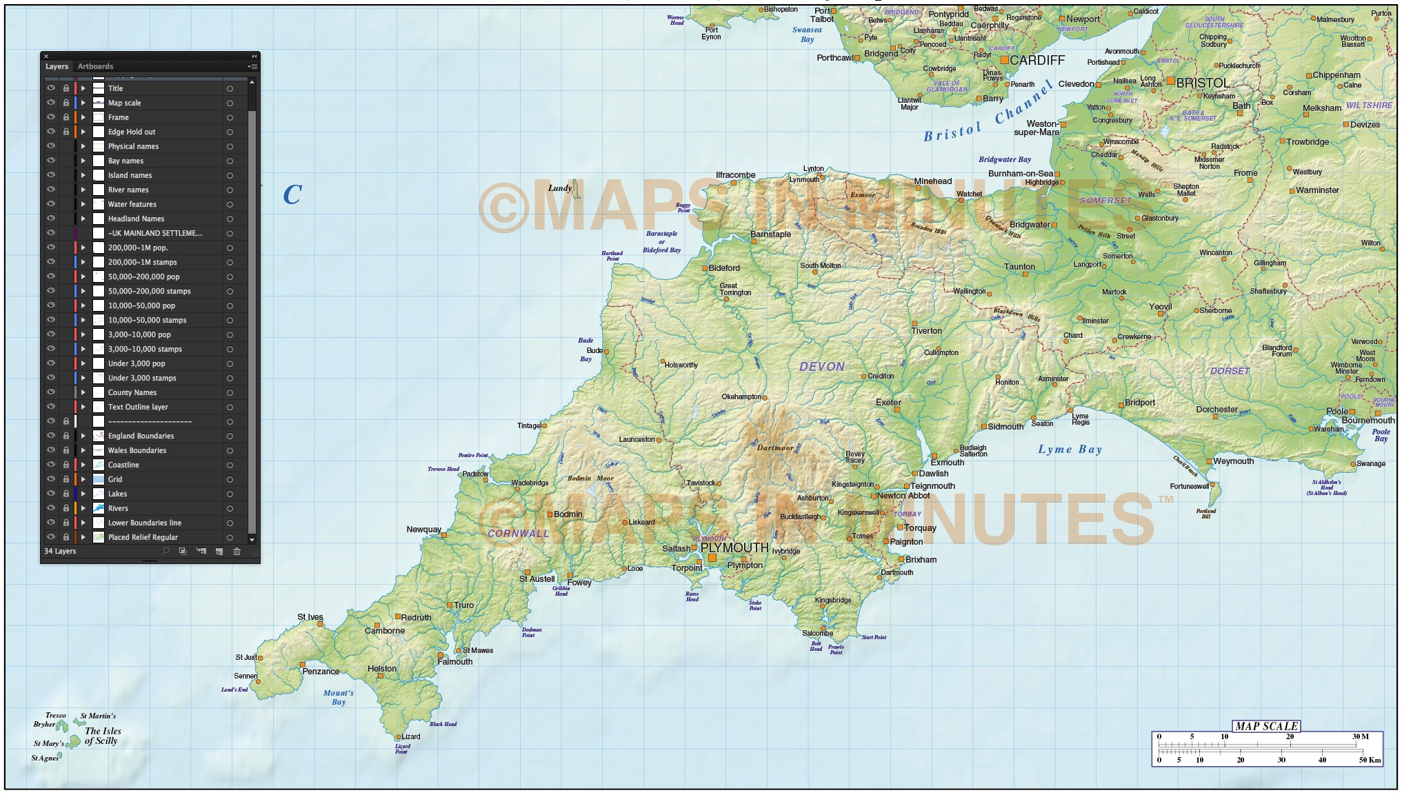 South West England County Map With Regular Relief