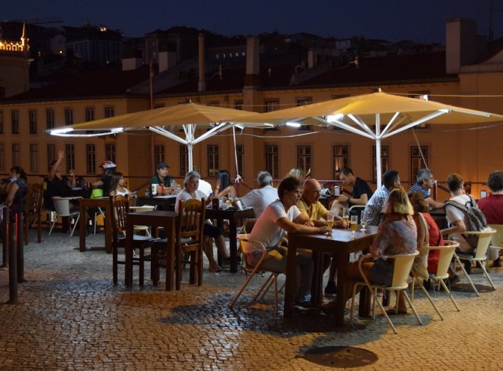 Lisbon's terraces are full of people drinking with no food in sight.