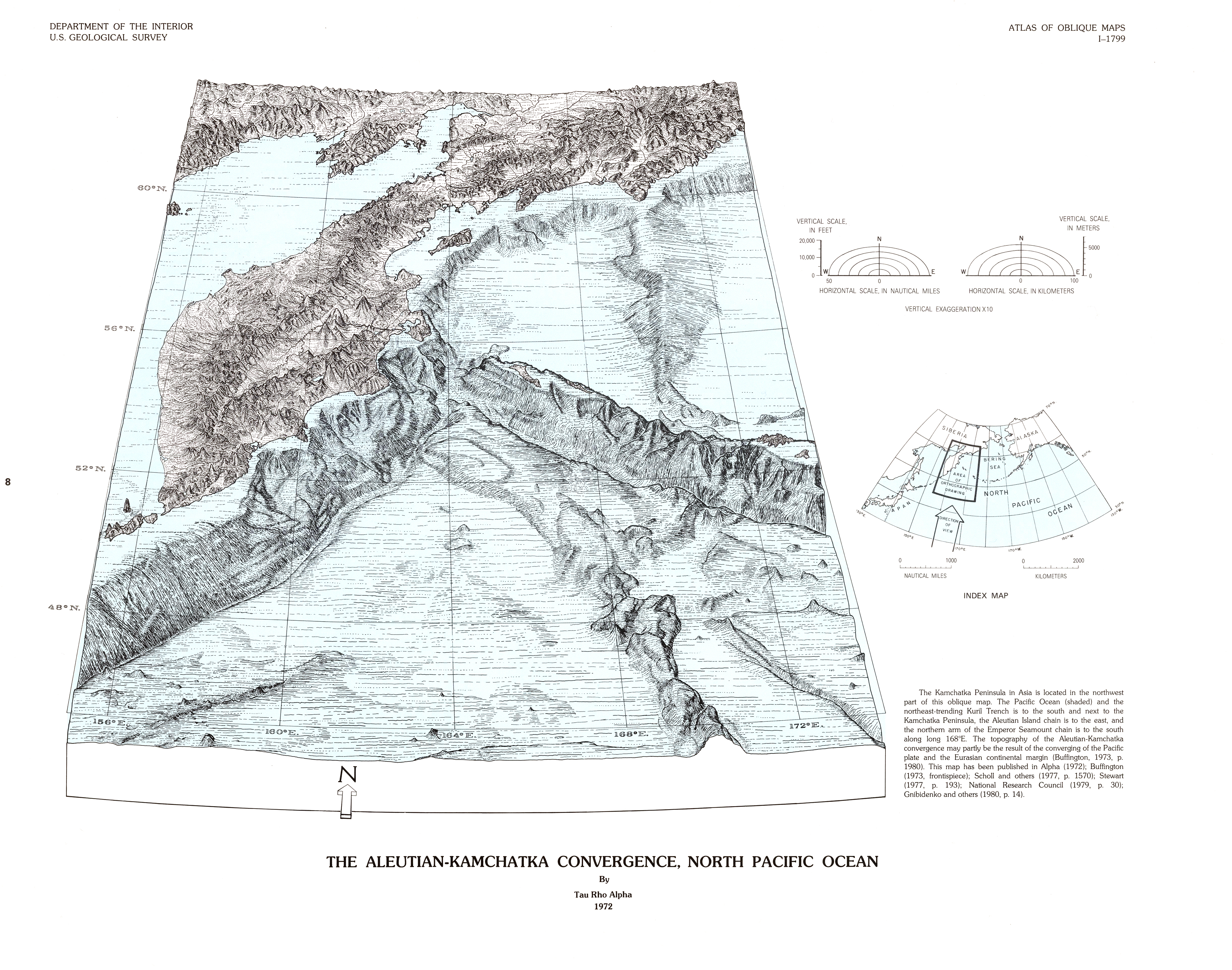 Oblique Maps Of The North Pacific Ocean By Usgs 523ca