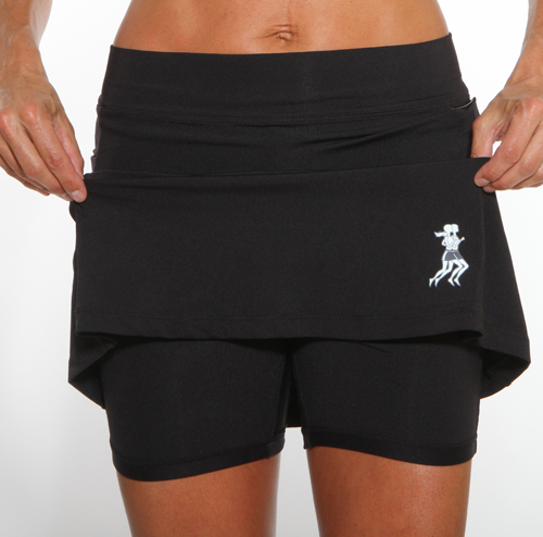 Athletic Skirt with Shorts - Black