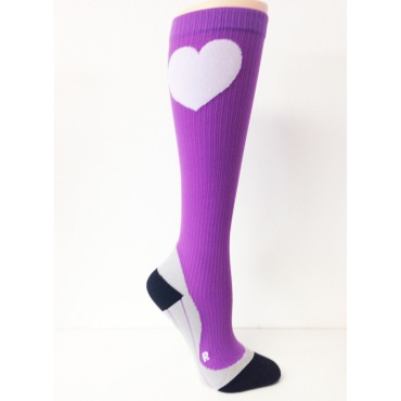 Compression Socks - Purple with Heart